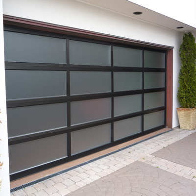 Modern Look Aluminum Frosted Glass Overhead Garage Door