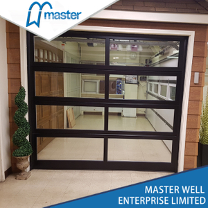 Black Insulated Glass Alumium Garage Door with Passing Door