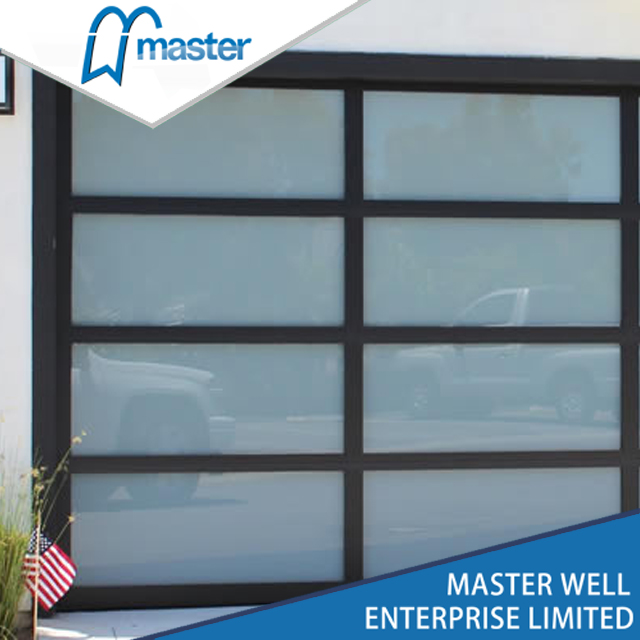 Clear Modern Tempered Glass Alumium Garage Door