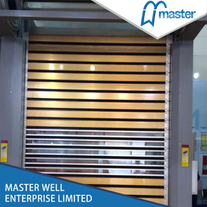 Saving Energy Logistics Temperature Proofing Wooden Grain Spiral High Speed Hard Fast Roll Up Doors